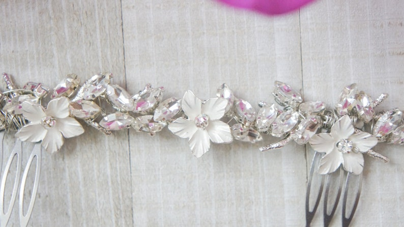 HAIR SLIDE COMB Feather Fascinator blush Pink With Pink Flower And Pearls