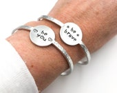 Encouragement and Affirmation Hand Stamped Cuff Bracelets in Aluminum You Can Be You Be Brave You Got This