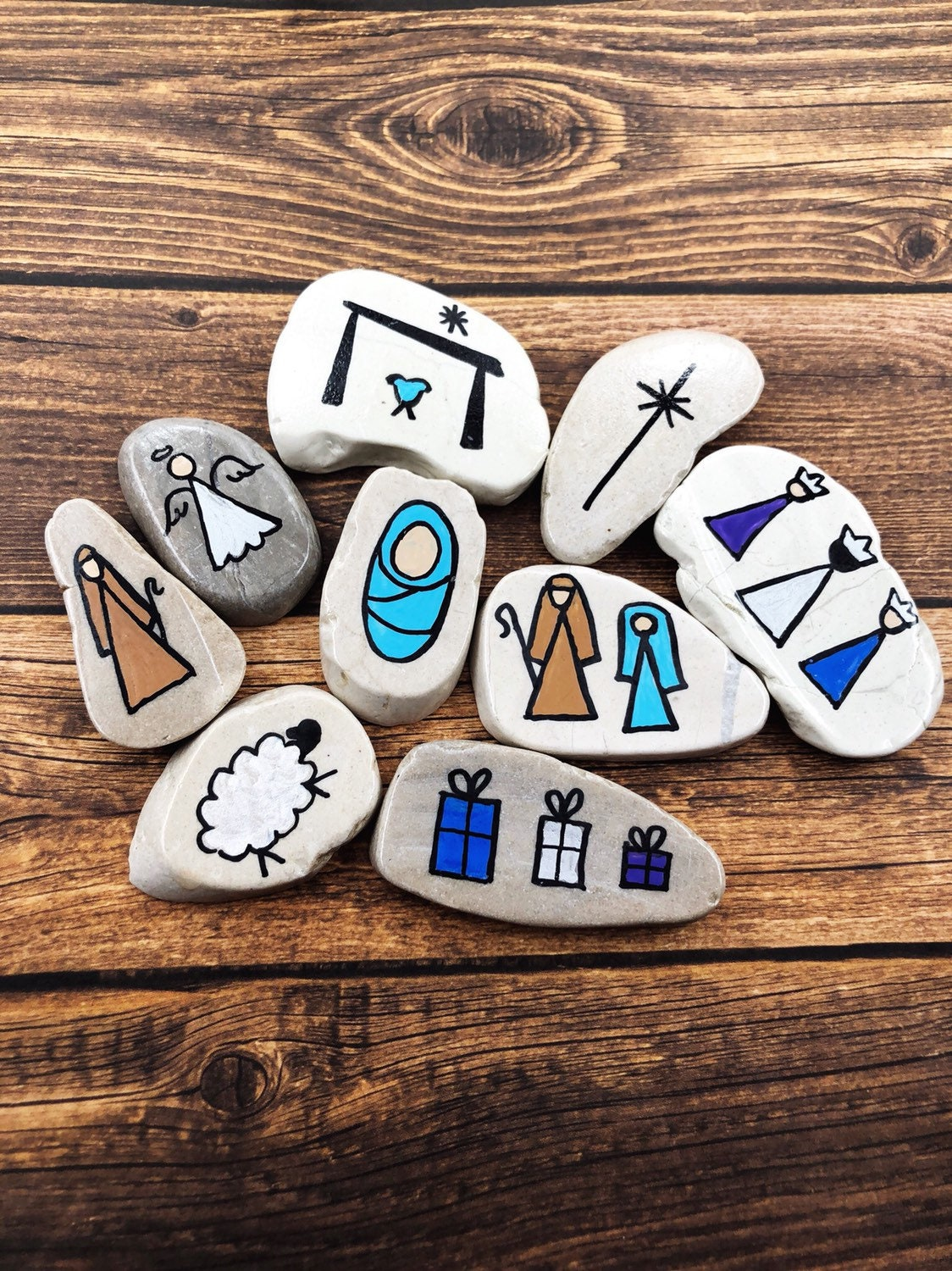 Nativity Story Stones White Marble Christmas Story Stones