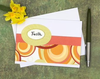 Faith Note Card Set, Set of 5 Blank Notecards, Faith Stationery, Notecard Set, Handmade greeting cards, Blank greeting cards