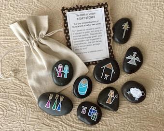 Nativity Story Stones, Christmas Story Stones, Birth of Jesus Story Stones, Manger Scene Story Stones, Nativity Set, Story rocks