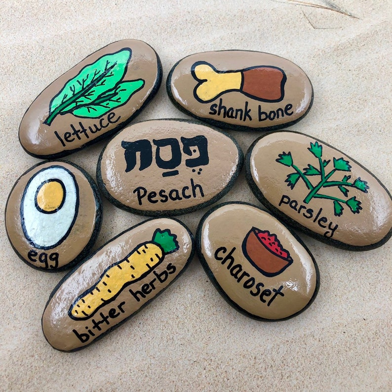 photograph about Children's Passover Seder Printable titled Seder Evening meal Tale Stones, Pover Seder Tale Rocks, Seder Evening meal Symbols, Seder Plate, Seder for Young children, Seder for Young children