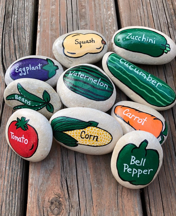 Vegetable Garden Stones Vegetable Markers Garden Markers | Etsy