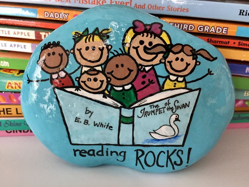 Reading Rocks Painted Rock, Reading Teacher Gift, Books Rock, Reading is  Fun, Christmas gift, Hand-Painted Rock