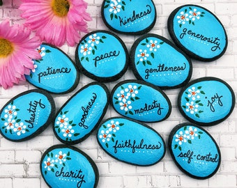 Fruit of the Spirit Story Stones, Christian Scripture Painted Rocks, Galations 5, Holy Spirit Attributes, Bible Verse Stones, Sunday School