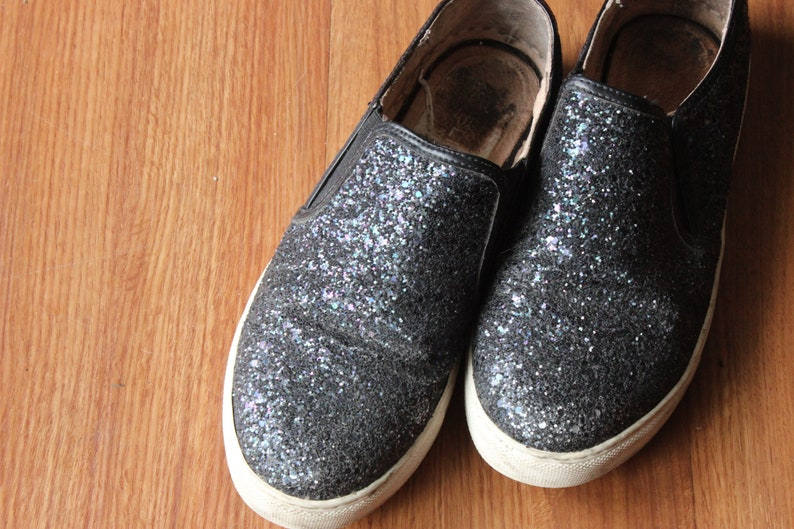 black sparkly sneakers