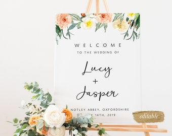 Editable Welcome To Our Wedding Sign Printable Custom Template Templett Instant Download Personalised Floral