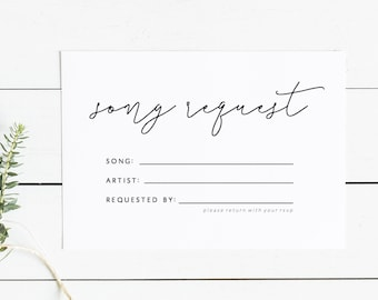 Song Template | Editable Song Request Cards Template Printable Rsvp Wedding Etsy