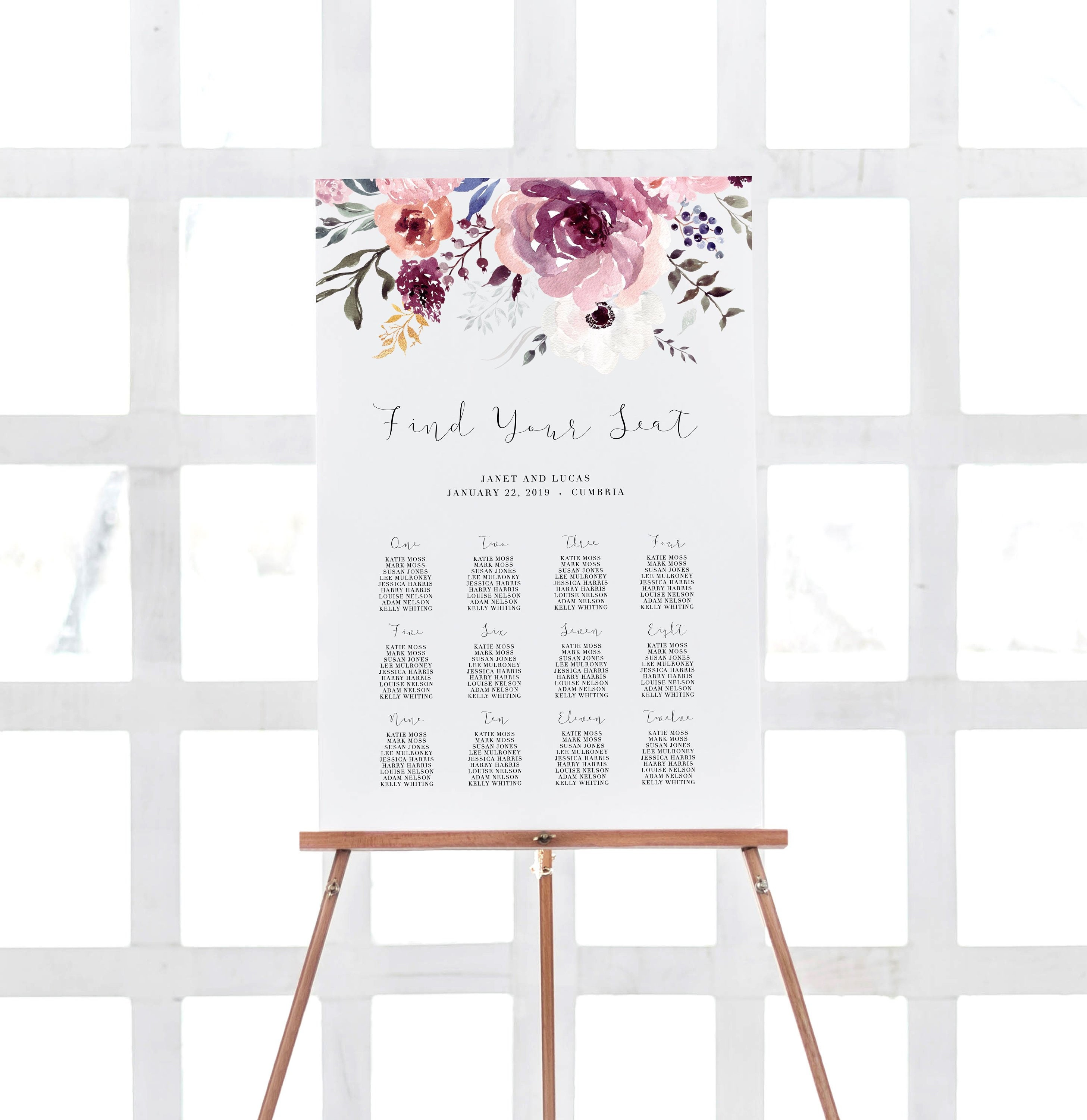 Floral Seating Chart Floral Table Plan Purple Floral Seating Plan Seating Template Wedding Seating Plan Printable Seating Chart Sign 101 008