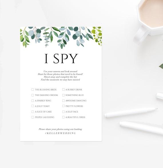 Editable I Spy Wedding Game Printable Photography Game Etsy
