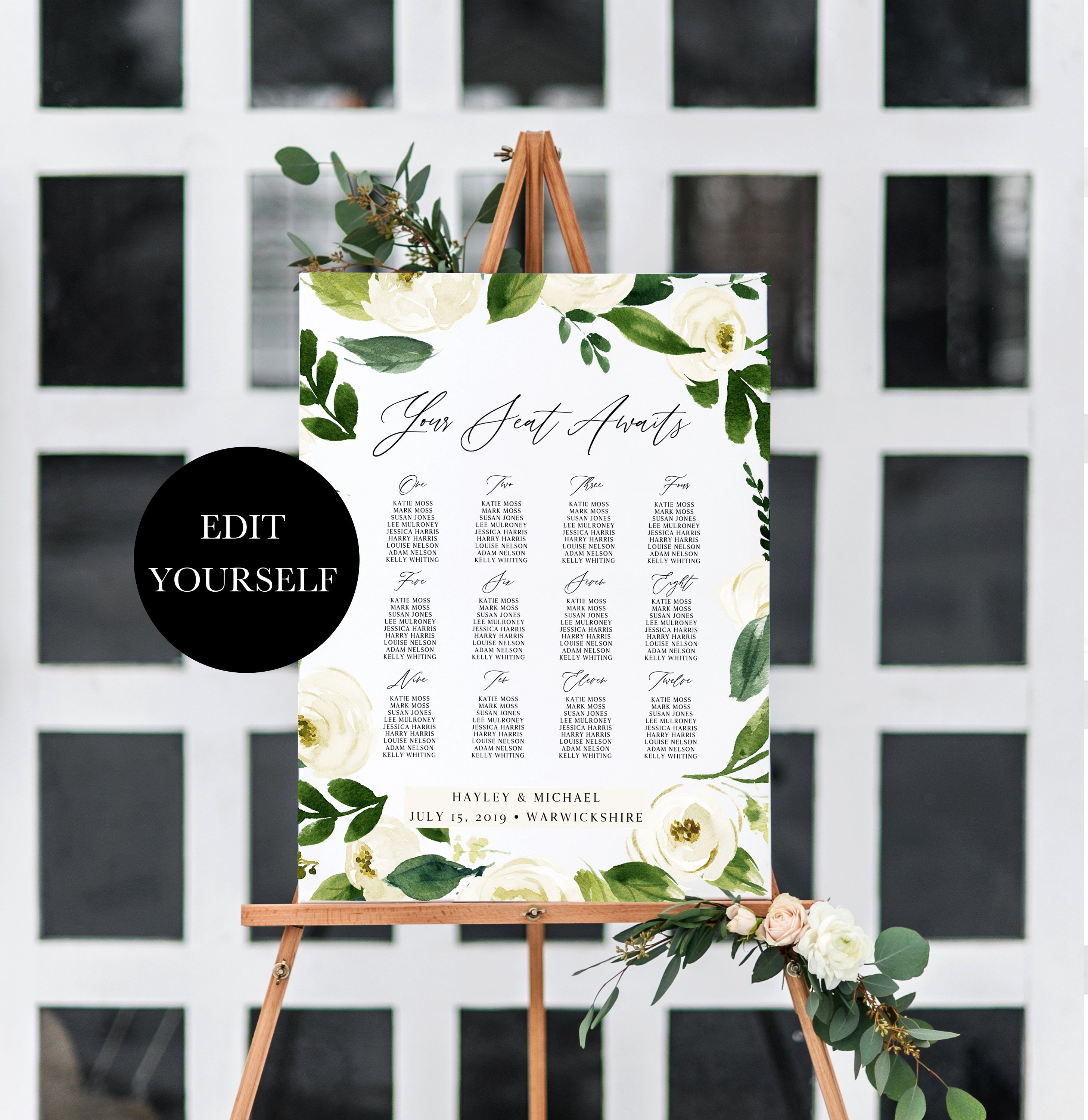 Floral Table Plan Floral Seating Chart Sign Wedding Seating Plan Printable Seating Template Editable Seating Chart Template Table 112 008