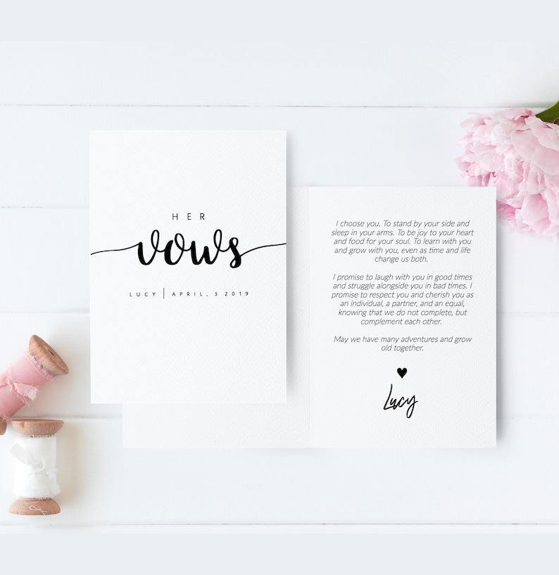 Wedding Vow Template.His And Her Wedding Vow Booklets Printable Wedding Vow Book Personalized Wedding Vow Booklet His And Her Vows His And Hers Vows Template Lea
