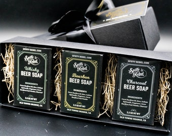 Beer Soap Flight Gift Box | Care Package for Men College Student Deployment | PBR Beer Gift Under 25 for Him Small Gift Box | Unique Present