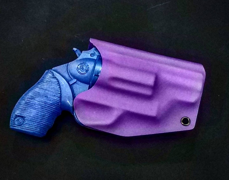 Taurus The Judge Public Defender Polymer Frame 4510 5 Round Revolver 2 Inch  Barrel Purple Kydex IWB Holster Left Hand 45 cal 410 Shotgun