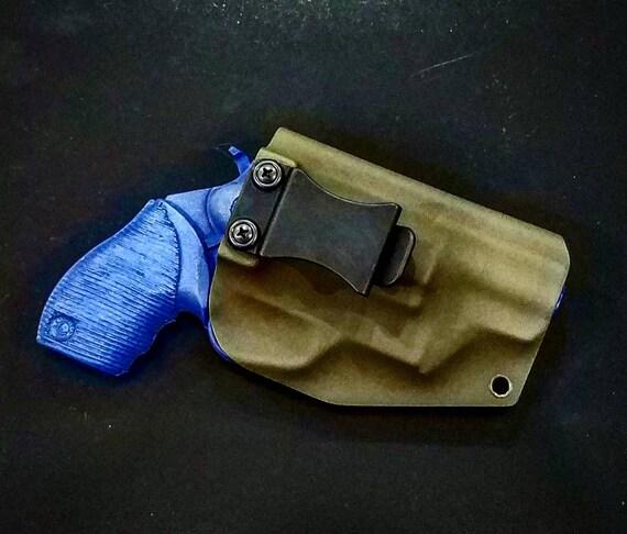 Taurus The Judge Public Defender Polymer Frame 4510 5 Round Revolver 2 Inch  Barrel OD Green Kydex IWB Holster Right Hand 45 cal 410 Shotgun