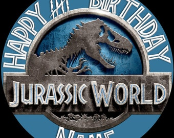 EDIBLE Jurassic World Birthday Cake Topper ICING WAFER