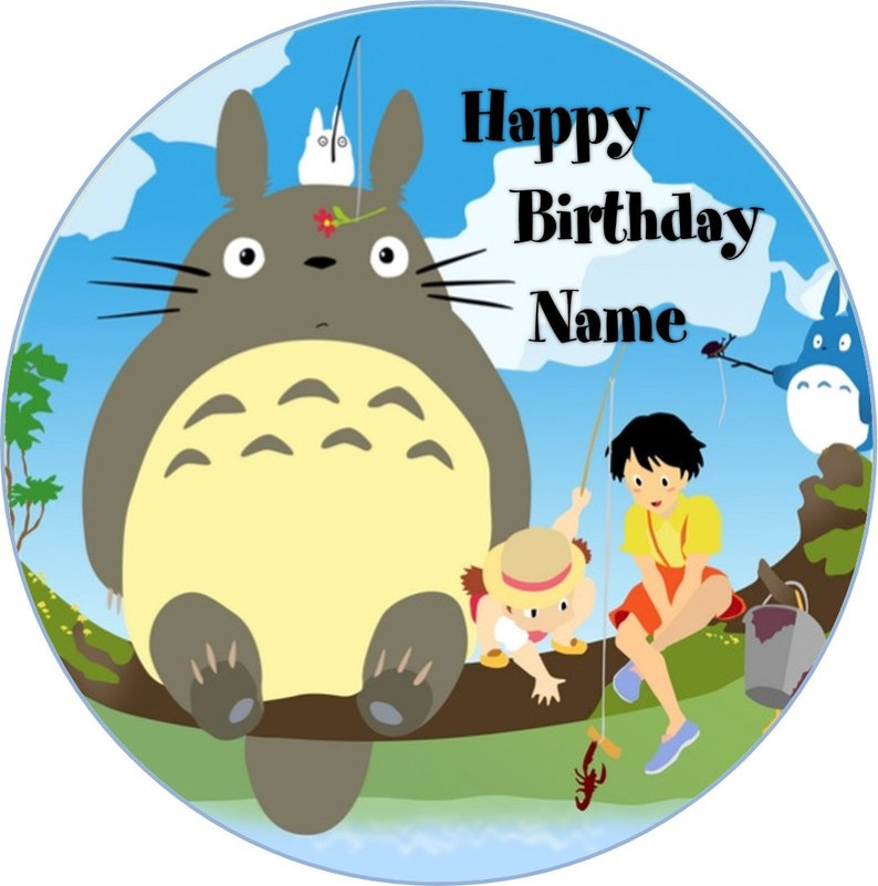 Superb Edible Totoro Birthday Cake Topper Icing Wafer Etsy Funny Birthday Cards Online Aeocydamsfinfo