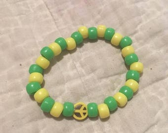 Green and Yellow Peace Bracelet