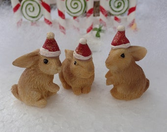 fairy garden mini bunny wearing a santa hat christmas miniatures holiday rabbits set of 3 - Christmas Miniatures
