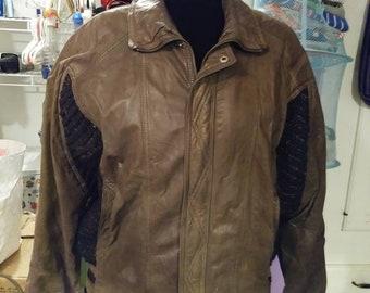 Vintage 1980's Leather jacket. Leather coat by Zero. Zero brand leather coat. Leather bomber jacket.