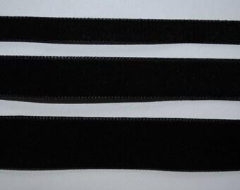 Velvet Ribbon black 9mm wide sold by the yard