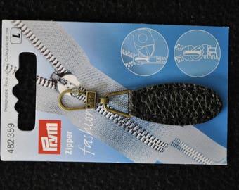 fancy black faux leather 482359 prym zipper pull