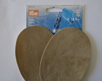elbow reinforcements imitation Tan taupe brown suede 9x13.5 cm has iron or sewing for repair/customization prym 929332
