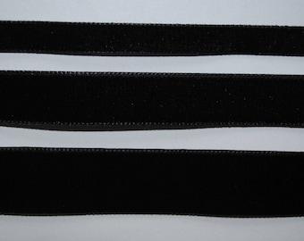 Velvet Ribbon black 22mm wide sold by the yard