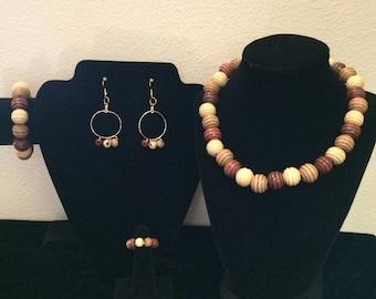 Multi Color Beehive Wood Bead Jewelry Set,Beehive Wood Bead Jewels,Boho Jewelry,Fashion Jewelry,Vintage Jewelry,Hawaiian Jewelry