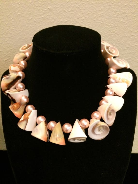 Vintage Cowry Spiral Seashell Jewelry Set,Multi-Color Spiral Seashell Jewelry Set,Pink Pearl Jewelry Set,Ocean Jems,Pink Shell Jewels,Jewels