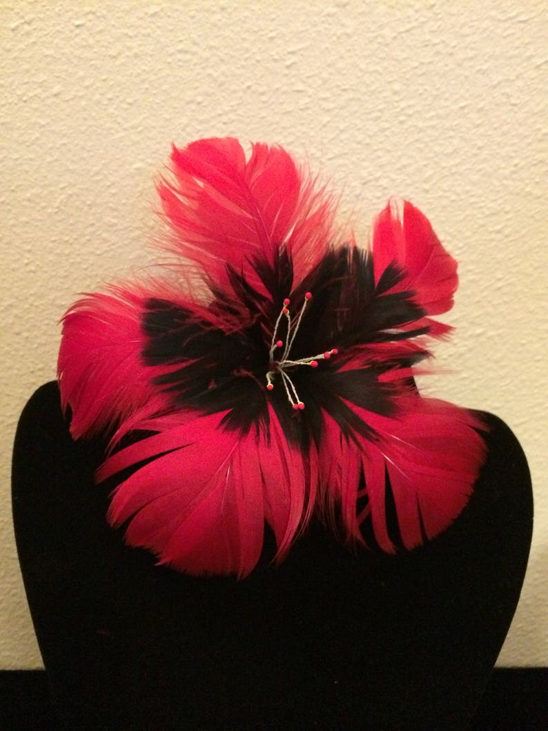 Red Hibiscus Feather Flower Hair Clipred Feather Flower Hair Etsy