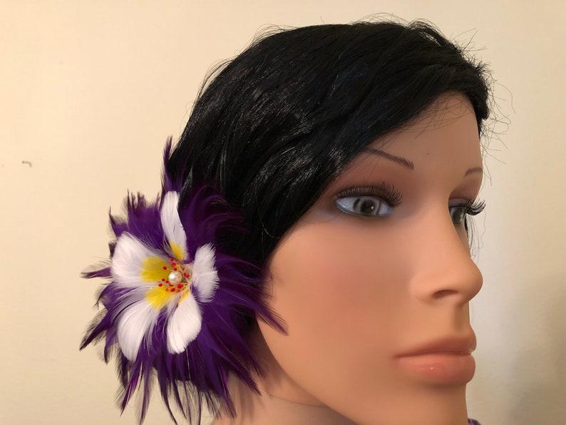 Aloha On My Mind Hibiscus Feather Flower Hair Pick,Hawaiian Style Hair Pick,Hair Ornament,Hair Trinkets,Up-Do Hair Pick,Hawaiian Feather Art