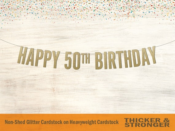happy 50th birthday banner block letters birthday banner etsy