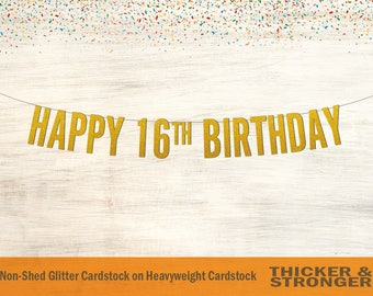 Happy 16th Birthday Banner, Block Letters - Sweet 16 Banner, 16th Birthday Banner, 16th Birthday Decor, Birthday Banner