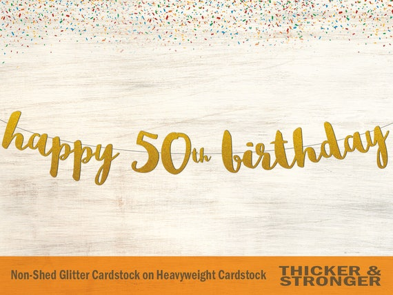 happy 50th birthday banner script font 50th birthday party etsy