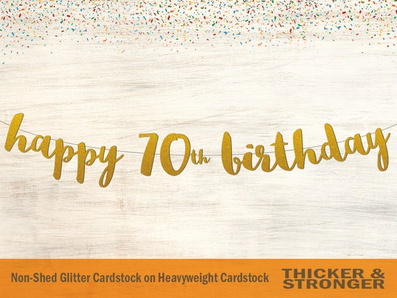 Happy 70th Birthday Banner Script Font Party