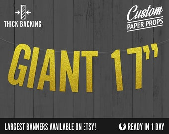GIANT Custom Banners, block style 17 inches tall - largest banners, biggest banner, extra large benners, Personalized Large Banner