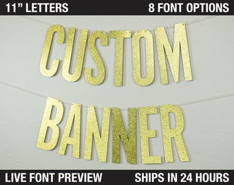 """Custom Banner, Narrow Block, 11"""" - Ginormous Size Extra Large Letters - cardstock premium block letters decoration party personalized banner"""