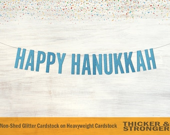 Happy Hanukkah Banner, Block Letters - Hanukkah Sign, Hanukkah Decoration, Hanukkah Garland, Holiday Decor