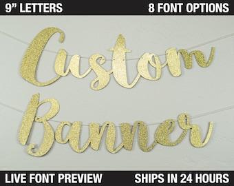 """Custom Banner, Script letters, 9"""" size - cardstock premium cursive script decoration party"""