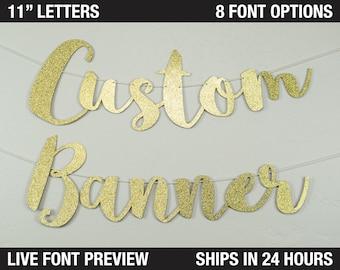 "Custom Banner, script letters, 11"" -  Extra Large Letters - cardstock premium cursive script decoration party, personalized banner"