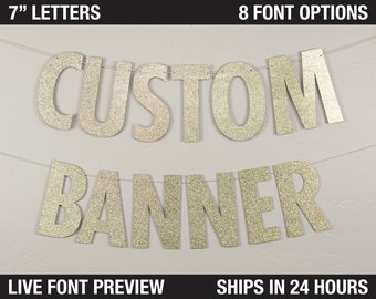 """Custom Banner, Modern Style, 7"""" - Personalized Party Banner Decor, Customized Banner, Hashtag banner, custom hashtag"""