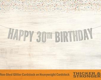 Happy 30th Birthday Banner, Block Letters - 30th Birthday Decor, 30th Birthday Party, Birthday Banner, Happy Birthday Banner