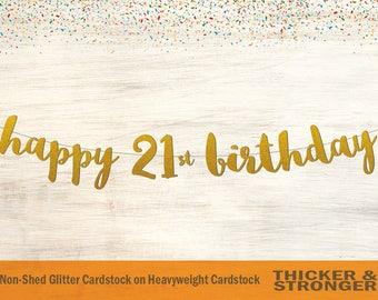 Happy 21st Birthday Banner, Script Font - 21st Birthday Banner, 21st Birthday Party Decorations, Happy Birthday Banner