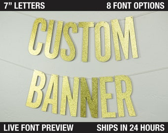 """Custom Banner, Narrow block letters, 7""""  Size - personalized banner, party decor, glitter banner, cardstock, decoration party"""