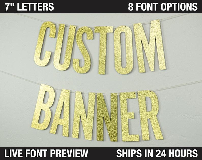 Custom Banner Narrow block letters 7  Size  image 0