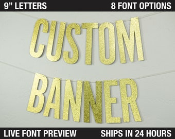 """Custom Banner, Narrow Block, 9"""" - personalized banner, party decor, glitter banner, cardstock, decoration party"""