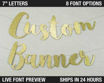"Custom Banner, Script letter, 7"" - personalized script letters, name banner, custom garland, wedding banner, wedding garland"