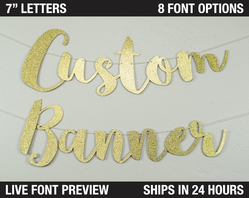 Custom Banner Script letter 7  personalized script image 0