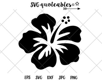Hibiscus Flower Silhouette SVG Clipart Cut File, Island Outdoor Adventure Vector, Digital Download, Tropical Printable